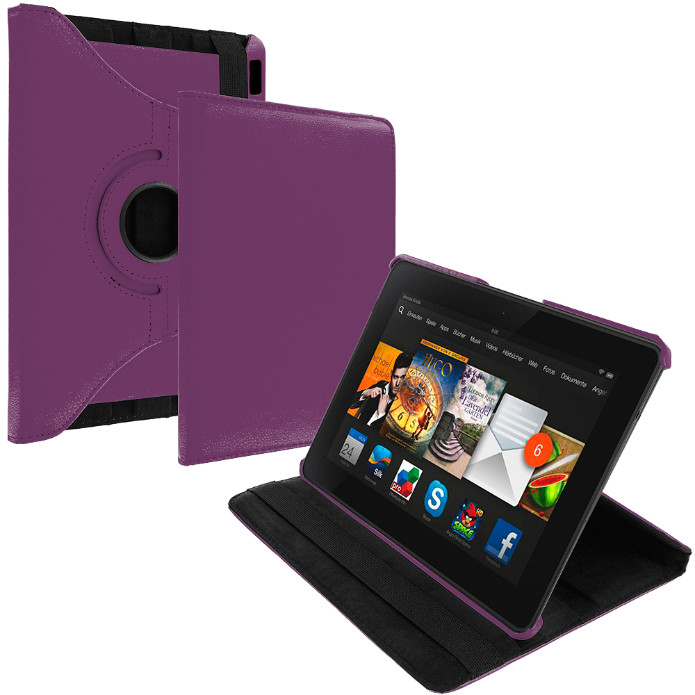 Amazon Kindle Fire HDX 7 Purple 360 Rotating Leather Pouch Case Cover Stand