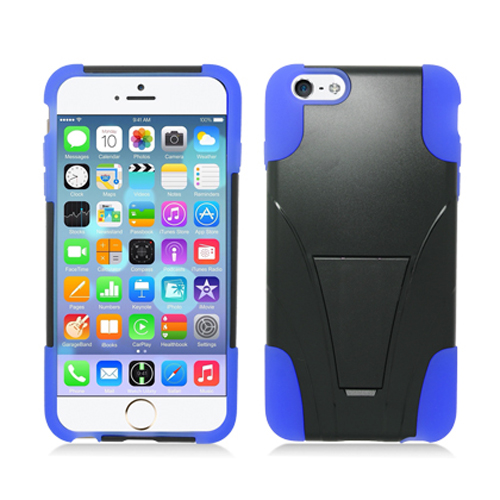 Apple iPhone 6 Plus 6S Plus (5.5) Black / Blue Hybrid Hard/Silicone Case Cover with Stand