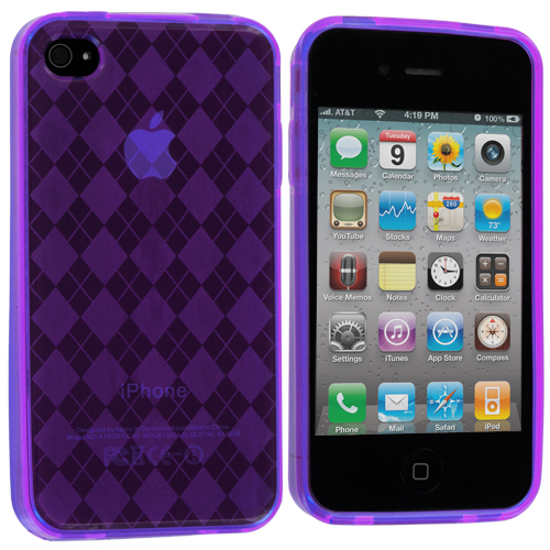 Apple iPhone 4 / 4S 2 in 1 Combo Bundle Pack - Green Purple Checkered TPU Rubber Skin Case Cover : Color Purple Checkered