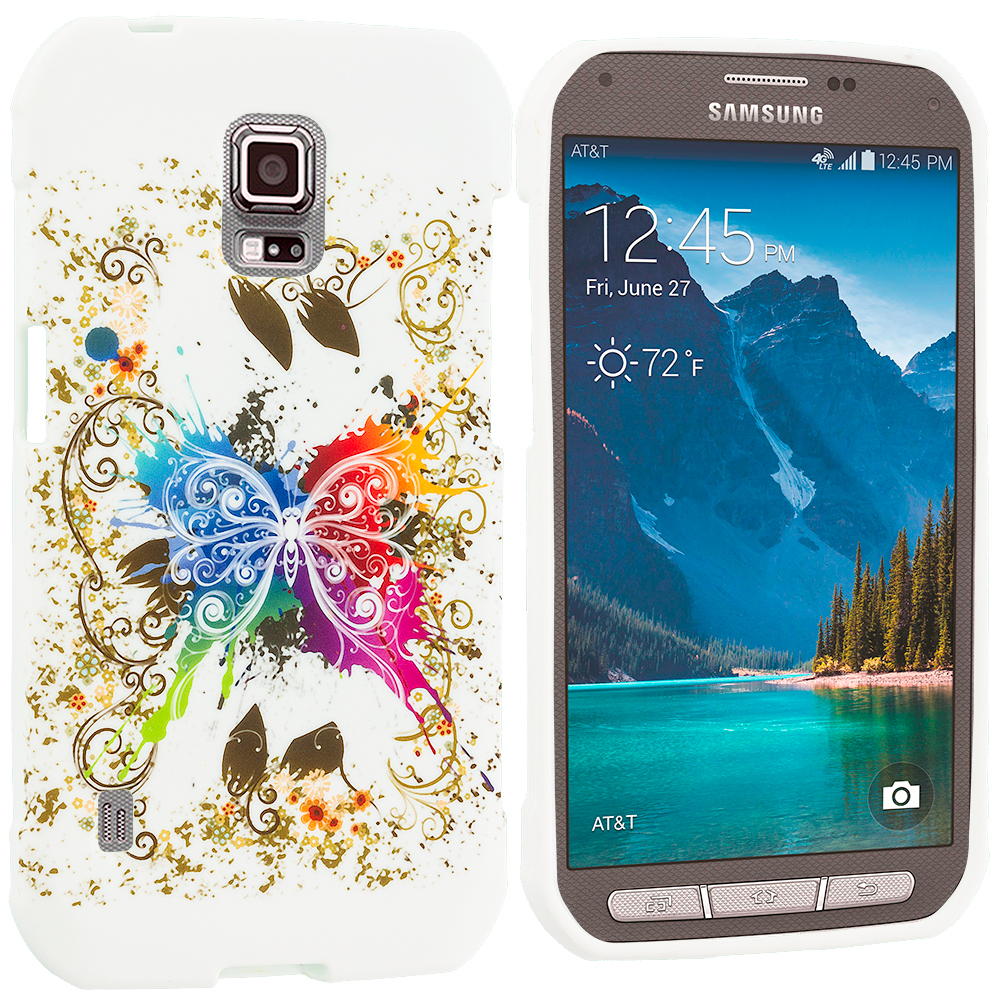 Samsung Galaxy S5 Active Colorful Butterfly TPU Design Soft Rubber Case Cover