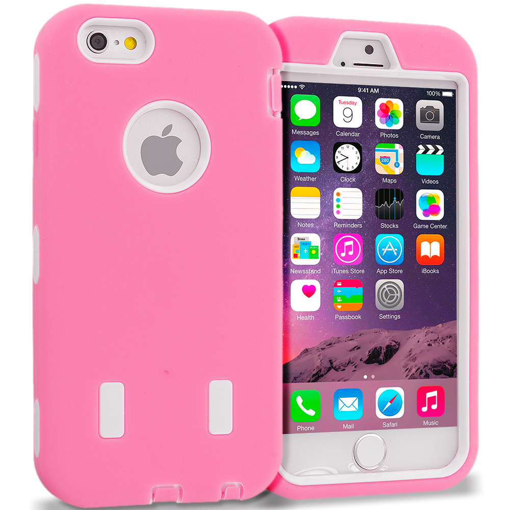 Apple iPhone 6 6S (4.7) Light Pink / White Hybrid Deluxe Hard/Soft Case Cover