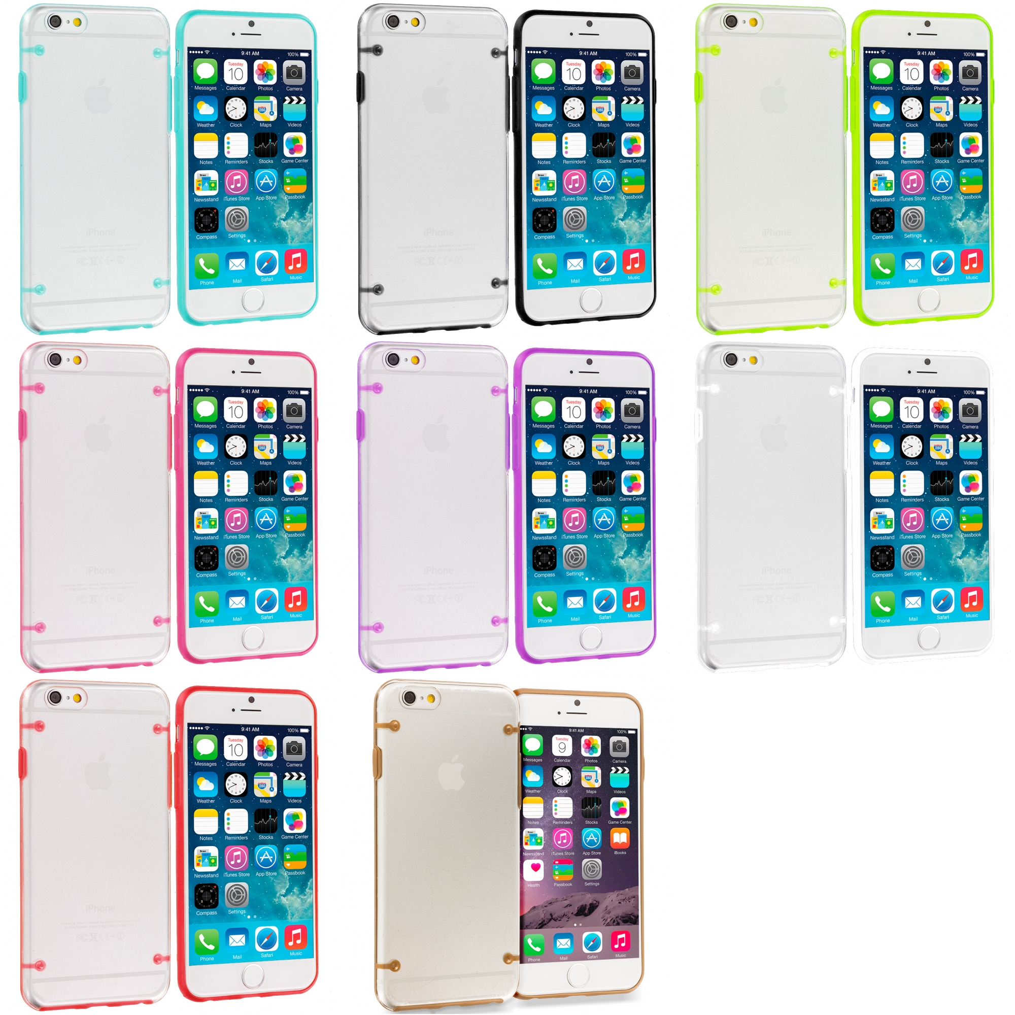 Apple iPhone 6 Plus 6S Plus (5.5) 8 in 1 Combo Bundle Pack - Crystal Robot Hard Case Cover
