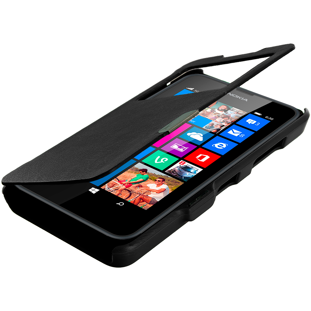 Nokia Lumia 630 635 Black (Open Front) Magnetic Flip Wallet Case Cover Pouch