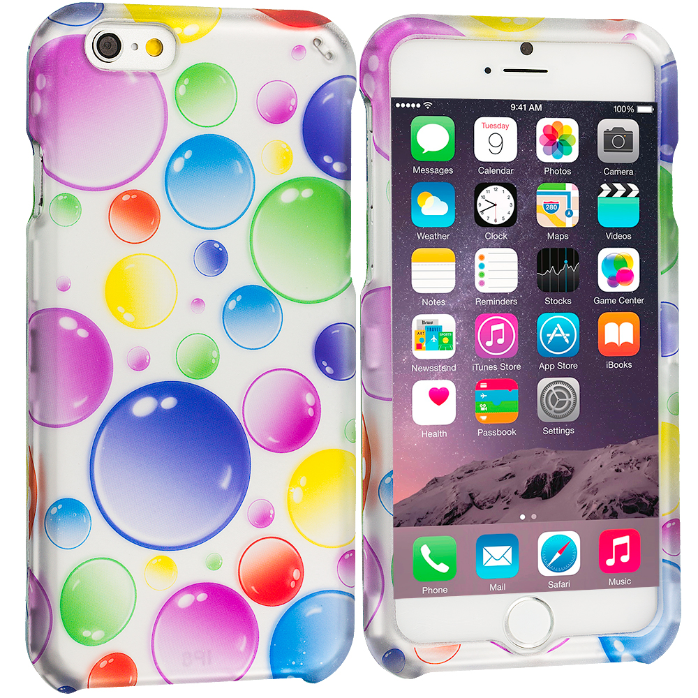 Apple iPhone 6 Plus 6S Plus (5.5) Bubbles 2D Hard Rubberized Design Case Cover