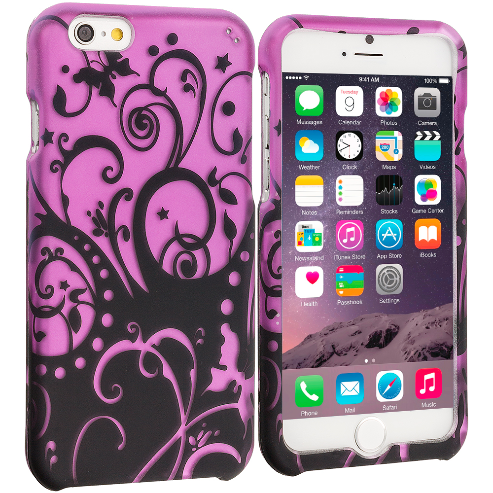 Apple iPhone 6 6S (4.7) Black Purple Swirl 2D Hard Rubberized Design Case Cover