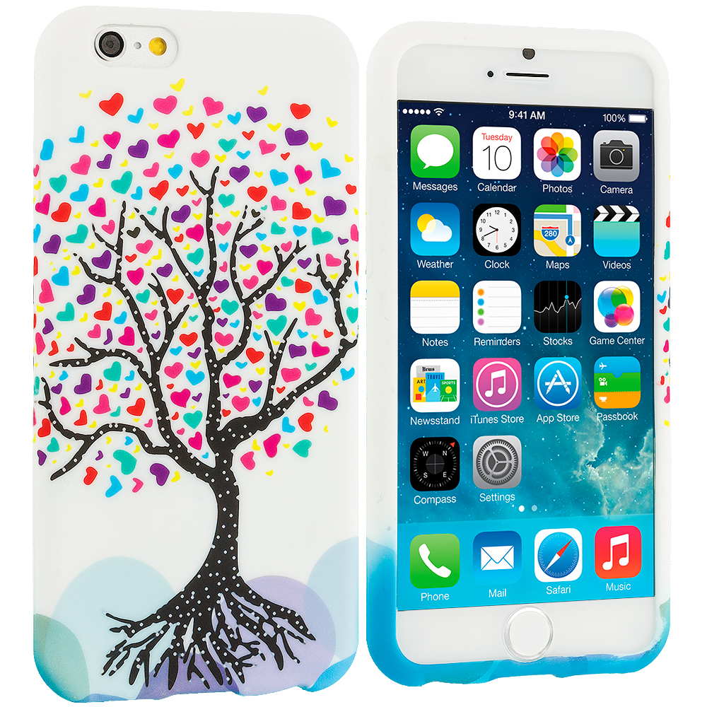 Apple iPhone 6 Plus 6S Plus (5.5) Love Tree on White TPU Design Soft Rubber Case Cover