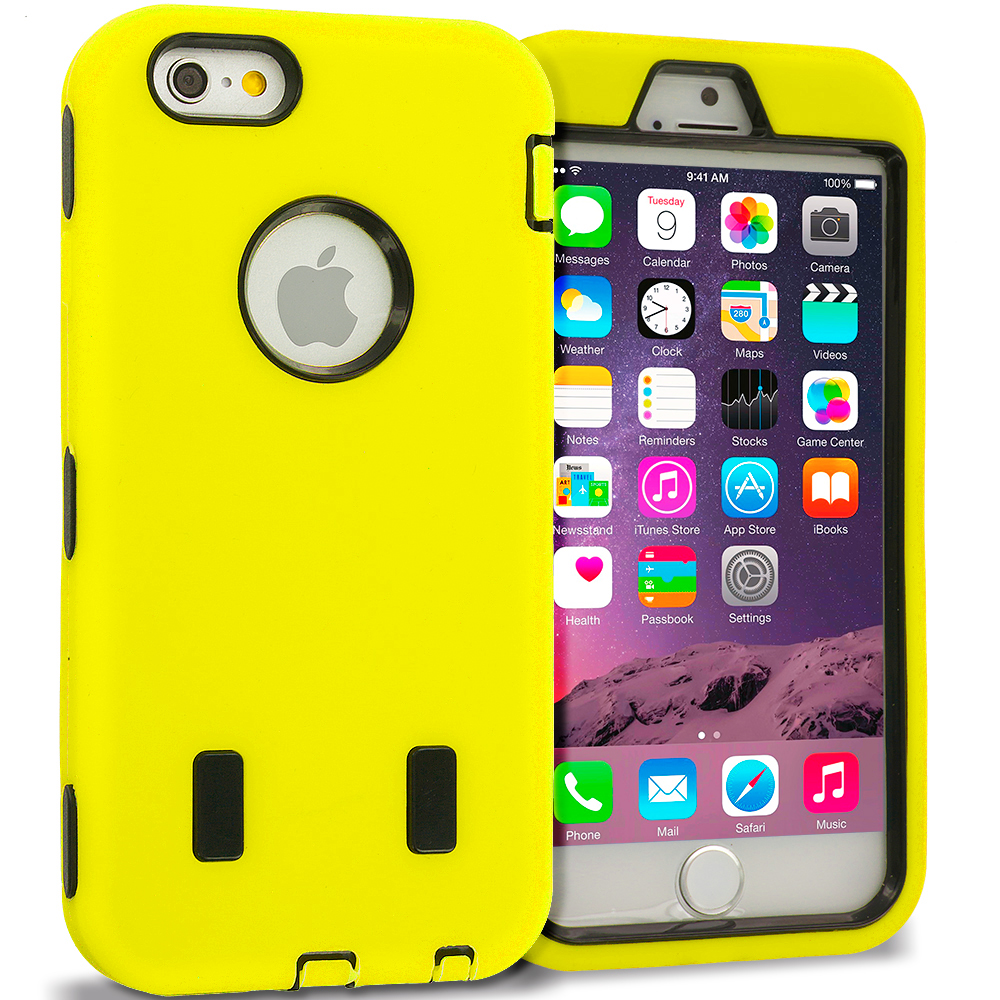 Apple iPhone 6 6S (4.7) Yellow / Black Hybrid Deluxe Hard/Soft Case Cover