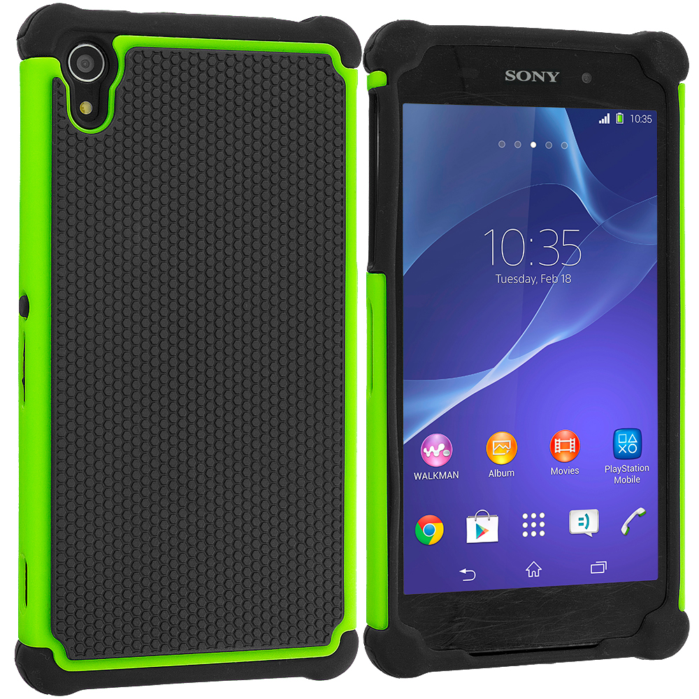 Sony Xperia Z2 Black / Neon Green Hybrid Rugged Grip Shockproof Case Cover