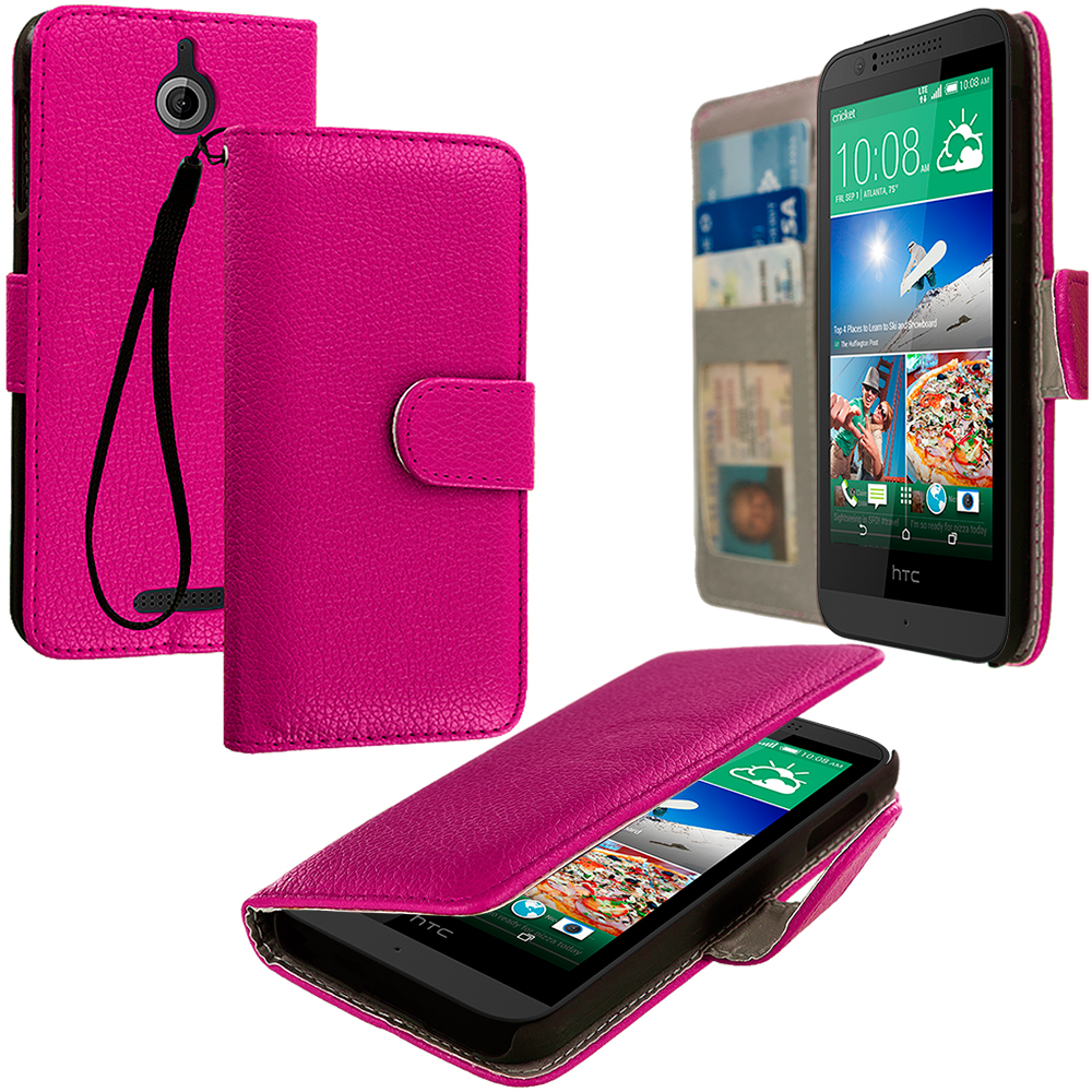 HTC Desire 510 Hot Pink Leather Wallet Pouch Case Cover with Slots