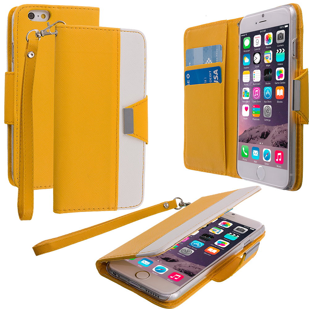Apple iPhone 6 Plus 6S Plus (5.5) Yellow Wallet Magnetic Metal Flap Case Cover With Card Slots