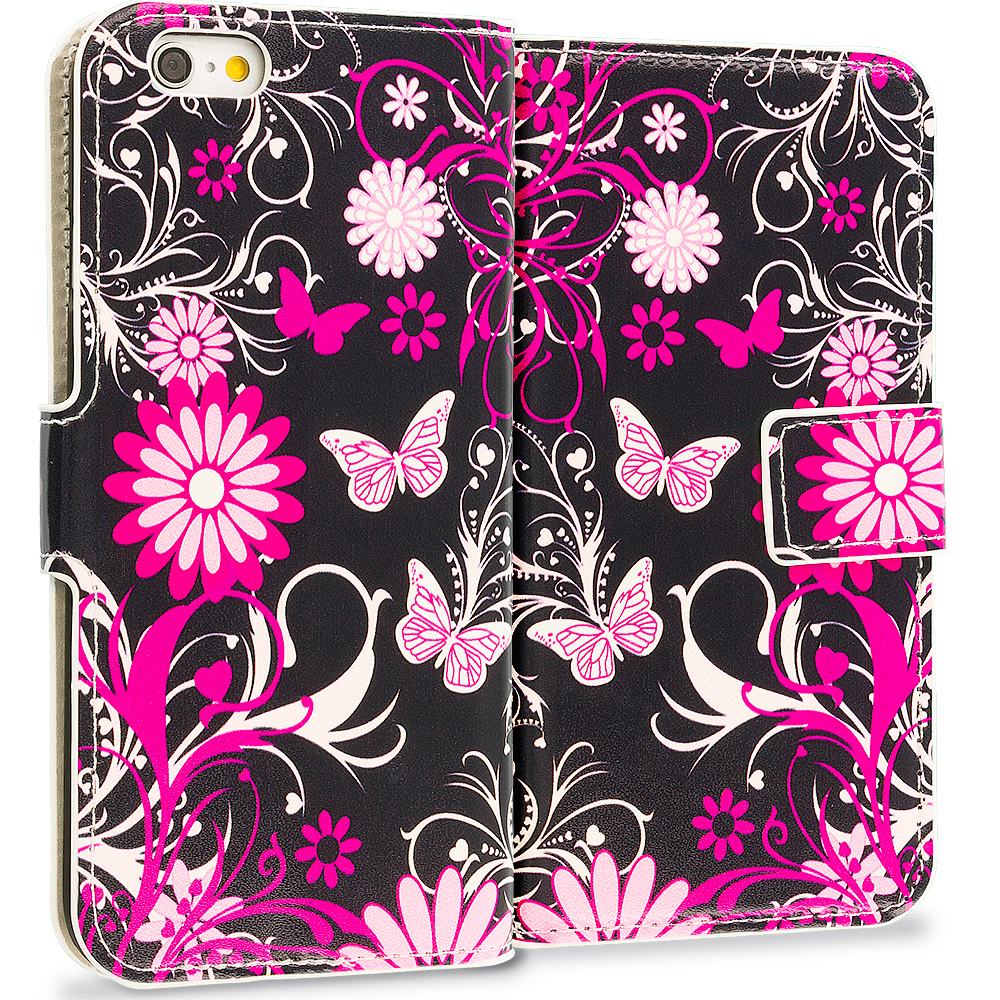 Apple iPhone 6 Plus 6S Plus (5.5) Pink Butterfly Leather Wallet Pouch Case Cover with Slots