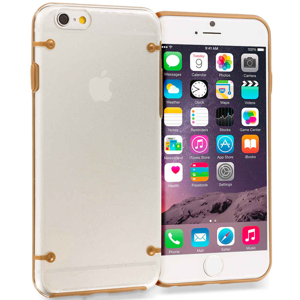 Apple iPhone 6 Plus 6S Plus (5.5) 8 in 1 Combo Bundle Pack - Crystal Robot Hard Case Cover : Color Gold