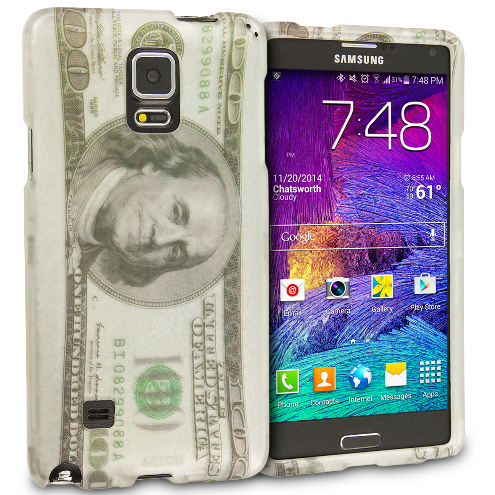 Samsung Galaxy Note 4 Hundred Dollars 2D Hard Rubberized Design Case Cover
