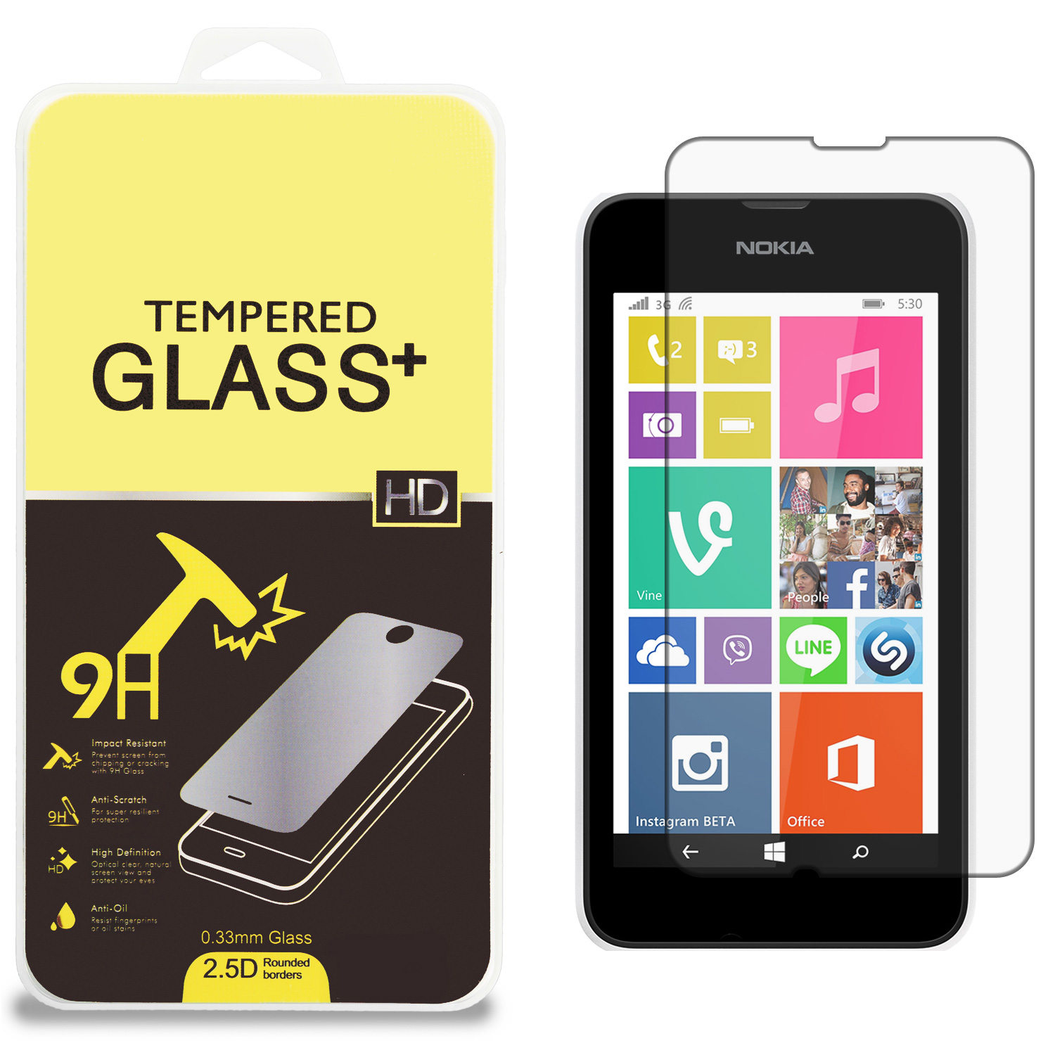 Nokia Lumia 530 Clear Tempered Glass High Quality 0.33mm LCD Screen Protector