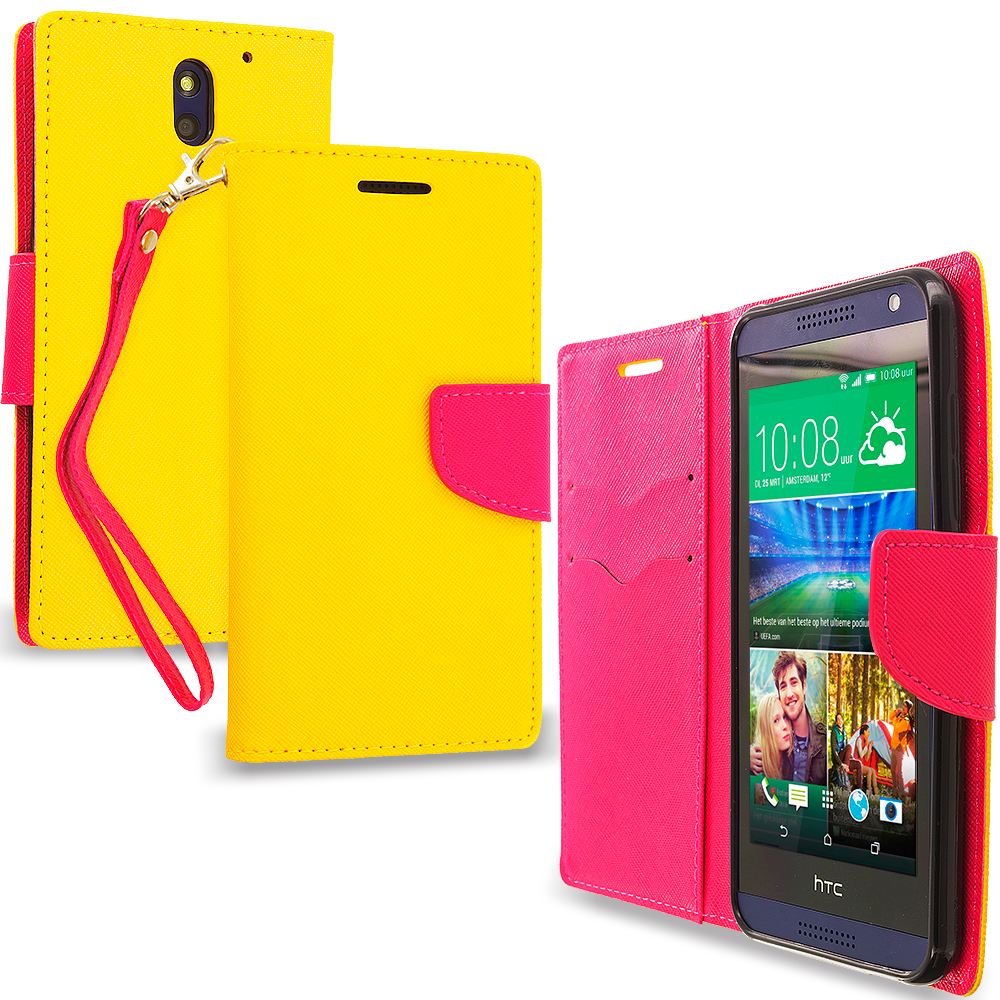 HTC Desire 610 Yellow / Hot Pink Leather Flip Wallet Pouch TPU Case Cover with ID Card Slots
