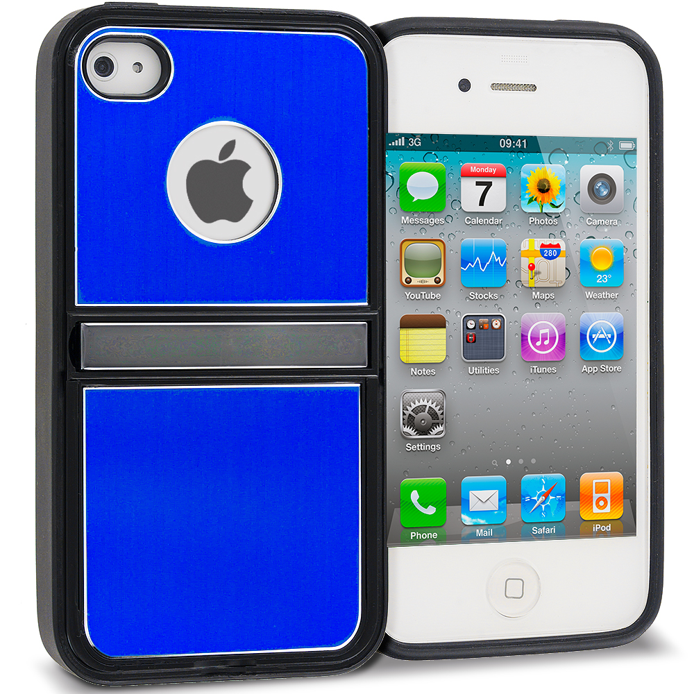 Apple iPhone 4 / 4S 2 in 1 Combo Bundle Pack - Black Blue Brushed Stand Aluminum Metal Hard Case Cover : Color Blue Brushed Stand
