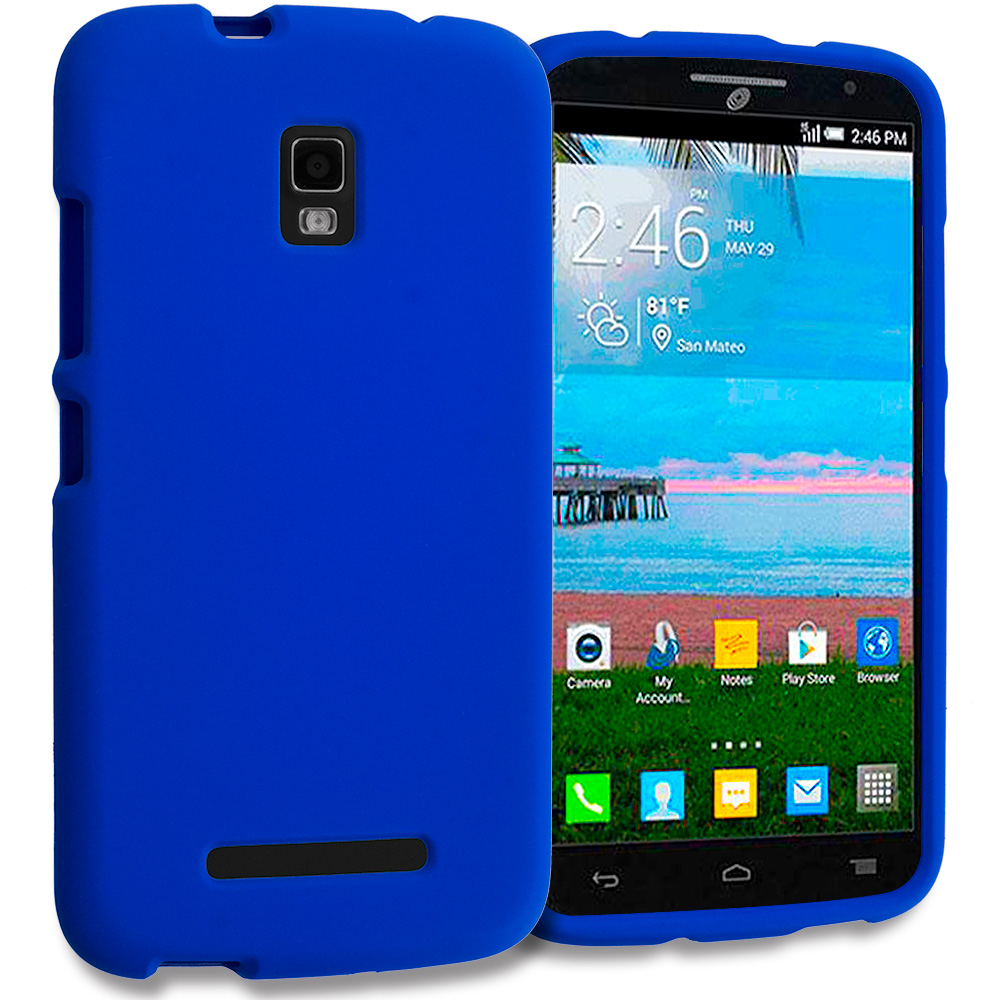 Alcatel One Touch Pop Mega A995L Blue Hard Rubberized Case Cover