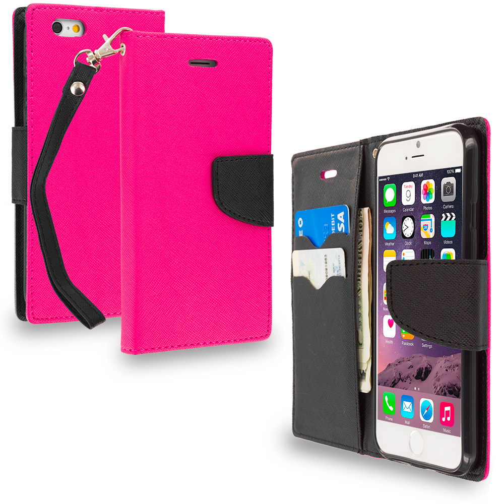 Apple iPhone 6 6S (4.7) 3 in 1 Combo Bundle Pack - Leather Flip Wallet Pouch TPU Case Cover with ID Card Slots : Color Hot Pink / Black