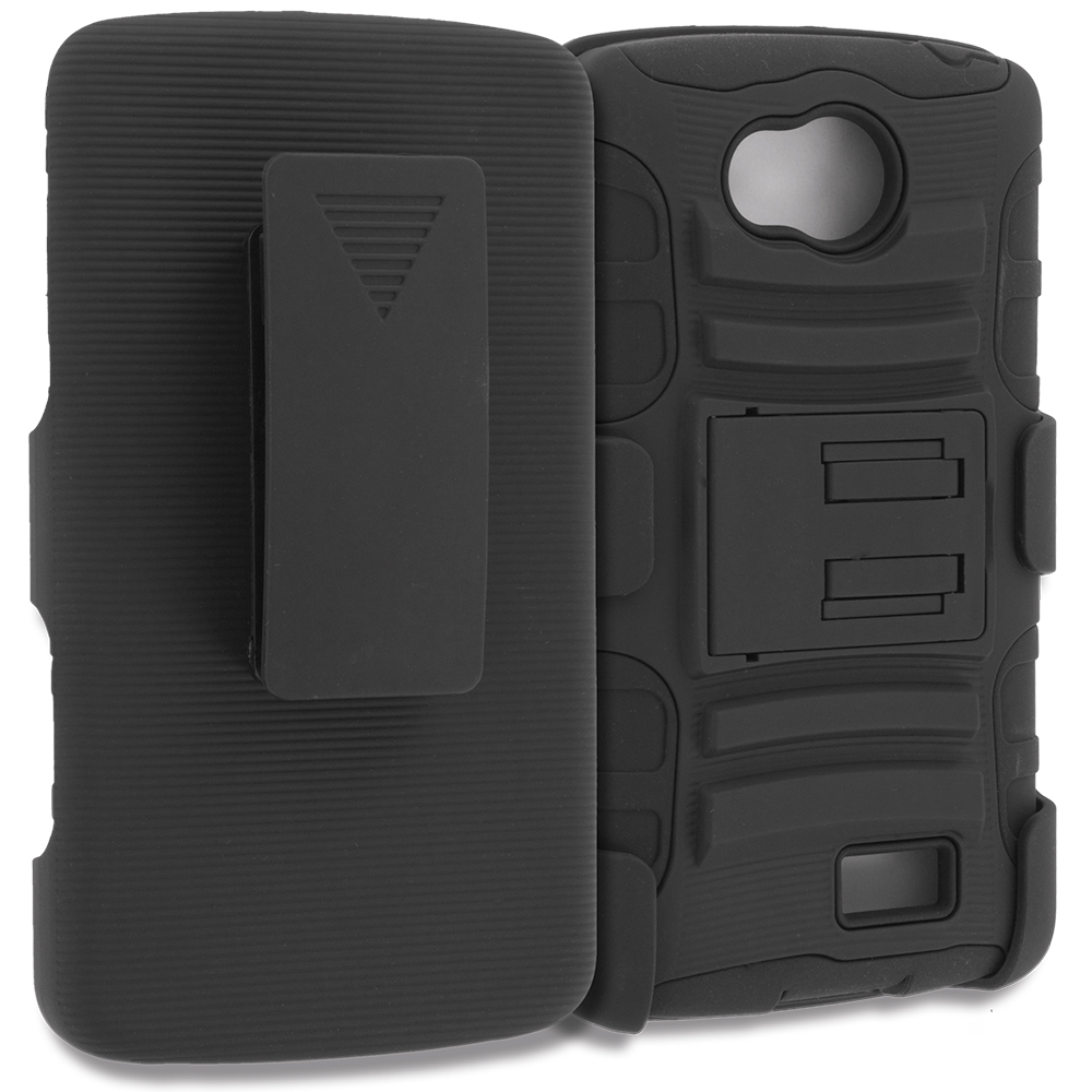 LG Transpyre Tribute F60 Black Hybrid Heavy Duty Rugged Case Cover with Belt Clip Holster