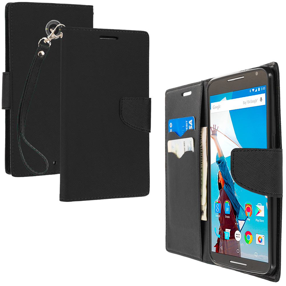 Motorola Google Nexus 6 Black / Black Leather Flip Wallet Pouch TPU Case Cover with ID Card Slots