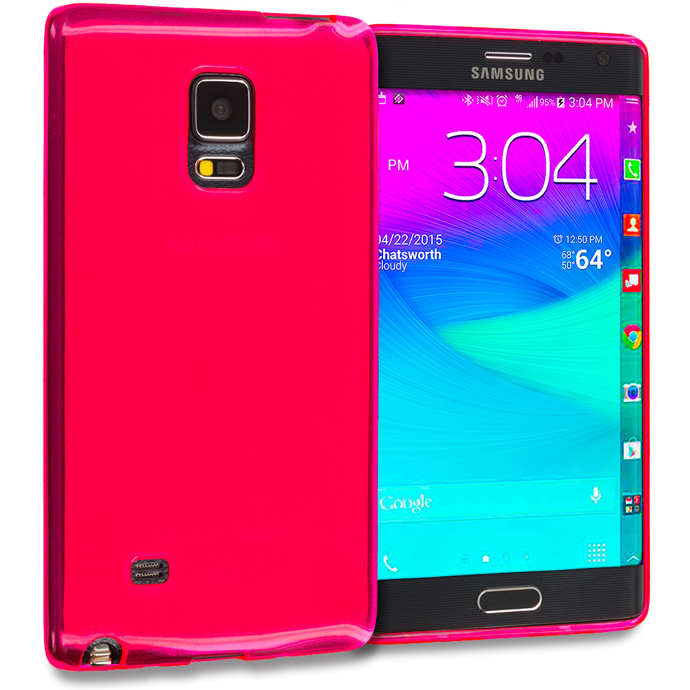 Samsung Galaxy Note Edge Hot Pink TPU Rubber Skin Case Cover
