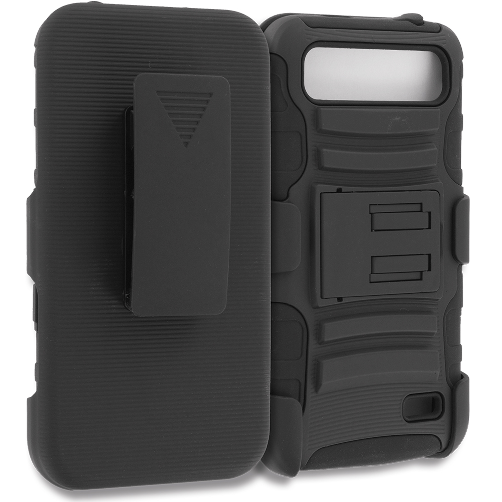 ZTE Speed N9130 Black Hybrid Heavy Duty Rugged Case Cover with Belt Clip Holster