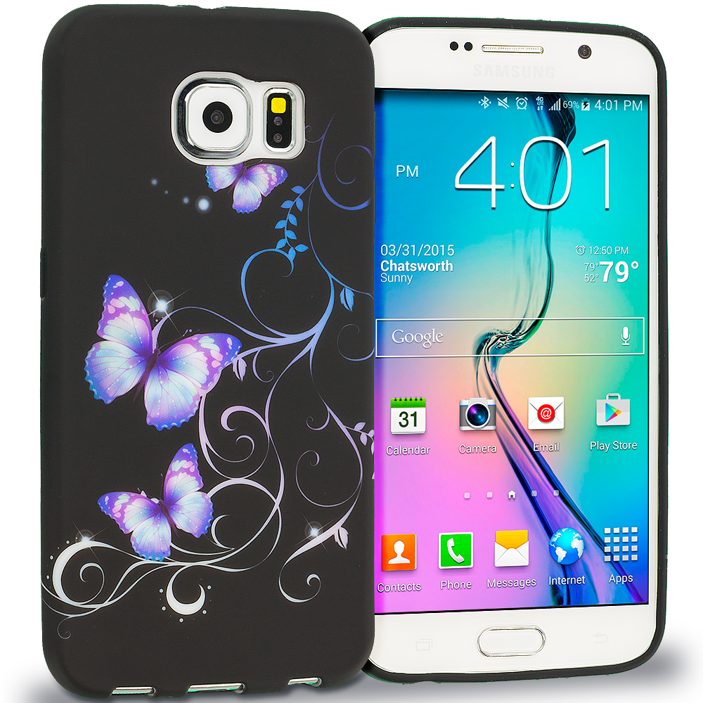 Samsung Galaxy S6 Black Purple Butterfly TPU Design Soft Rubber Case Cover