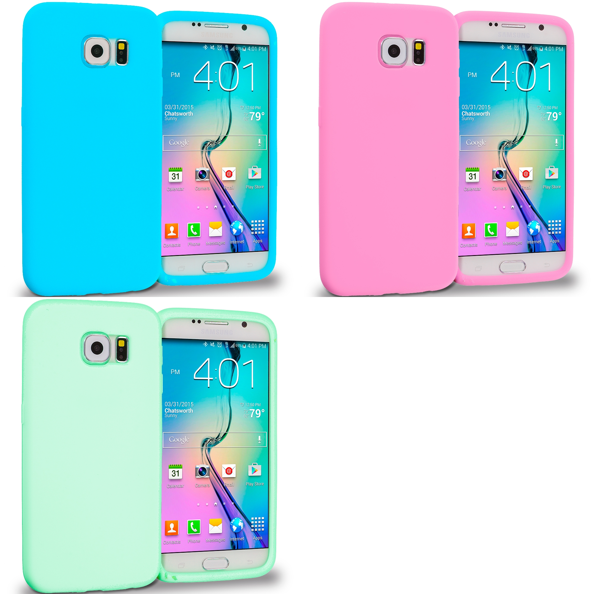 Samsung Galaxy S6 Combo Pack : Baby Blue Silicone Soft Skin Rubber Case Cover