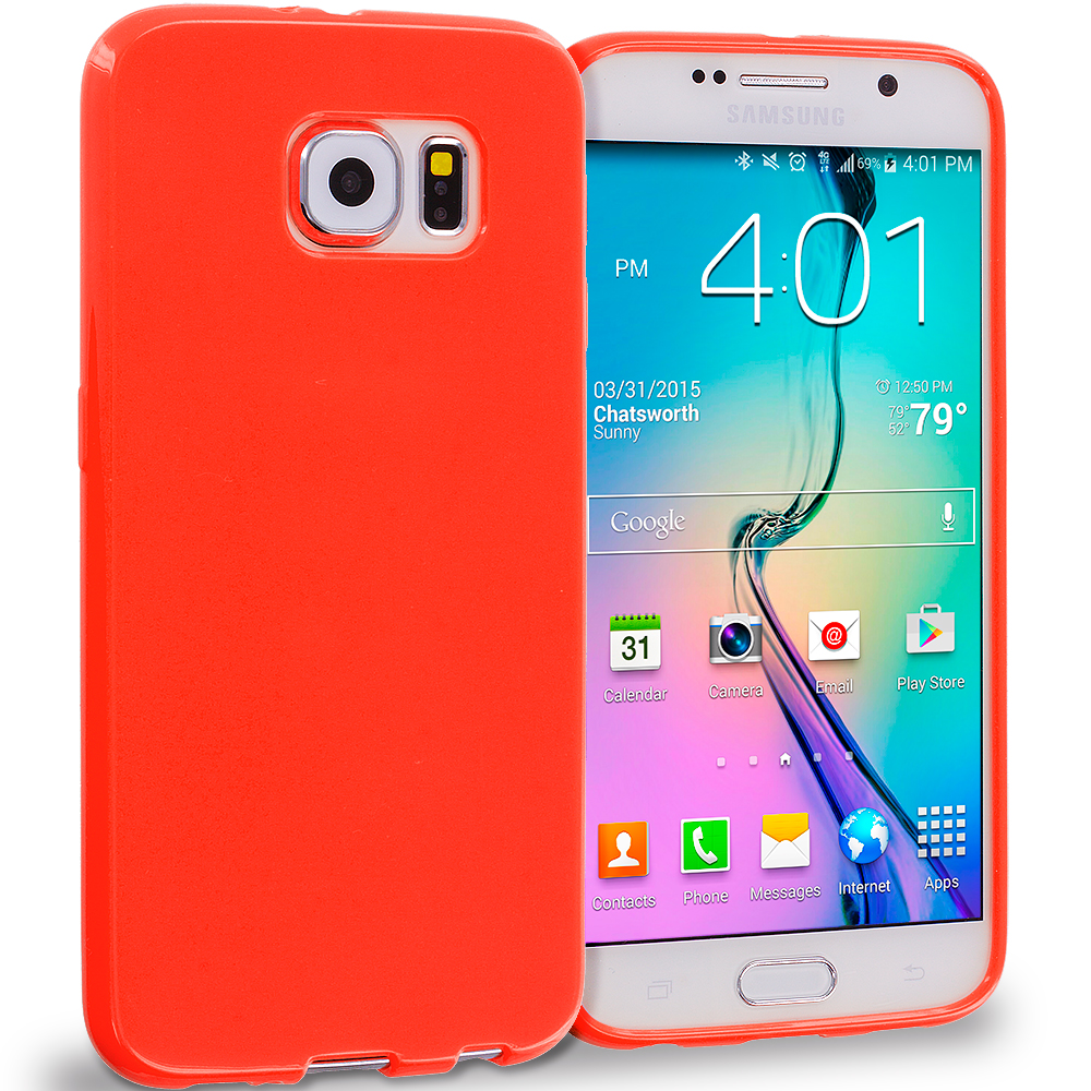 Samsung Galaxy S6 Red Solid TPU Rubber Skin Case Cover