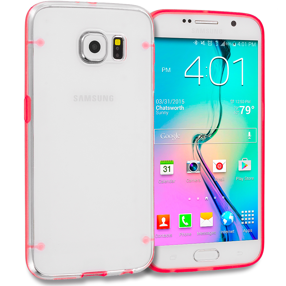 Samsung Galaxy S6 Combo Pack : Hot Pink Crystal Robot Hard TPU Case Cover : Color Red