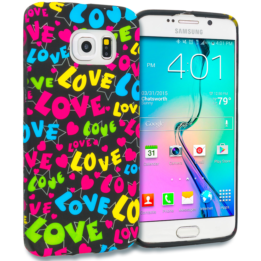Samsung Galaxy S6 Edge Colorful Love on Black TPU Design Soft Rubber Case Cover