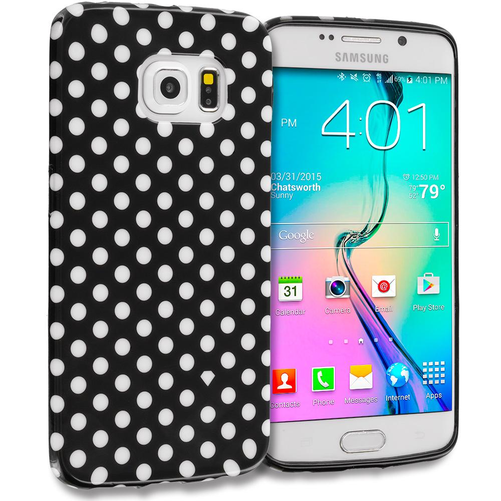 Samsung Galaxy S6 Edge Black / Mini White TPU Polka Dot Skin Case Cover