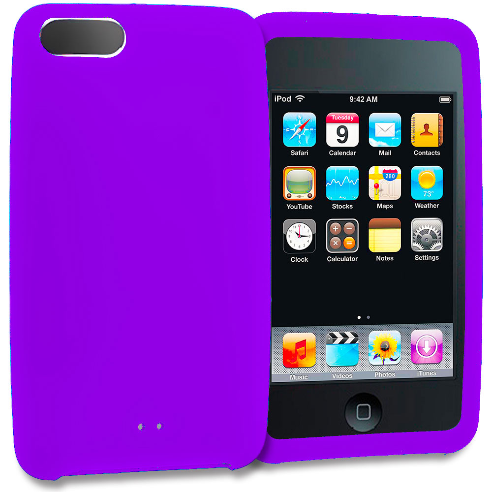 Apple iPod Touch 3rd 2nd Generation Purple Silicone Soft Skin Rubber Case Cover