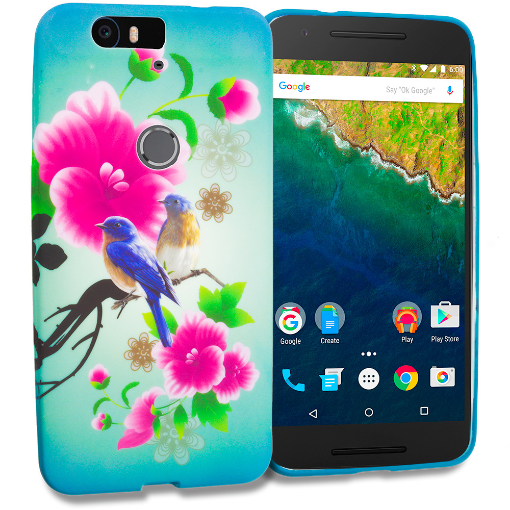 Huawei Google Nexus 6P Blue Bird Pink Flower TPU Design Soft Rubber Case Cover