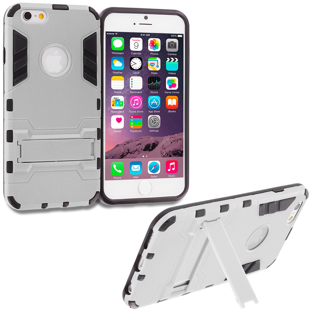 Apple iPhone 6 Plus White Hybrid Transformer Armor Slim Shockproof Case Cover Kickstand