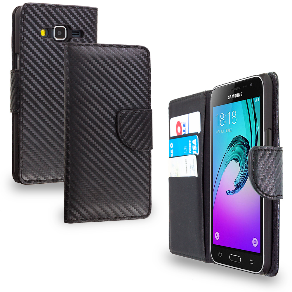 Samsung Galaxy J3 Carbon Fiber Leather Wallet Pouch Case Cover with Slots