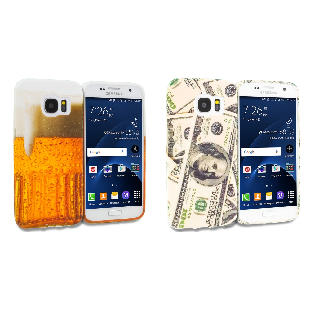 Samsung Galaxy S7 Combo Pack : Money TPU Design Soft Rubber Case Cover