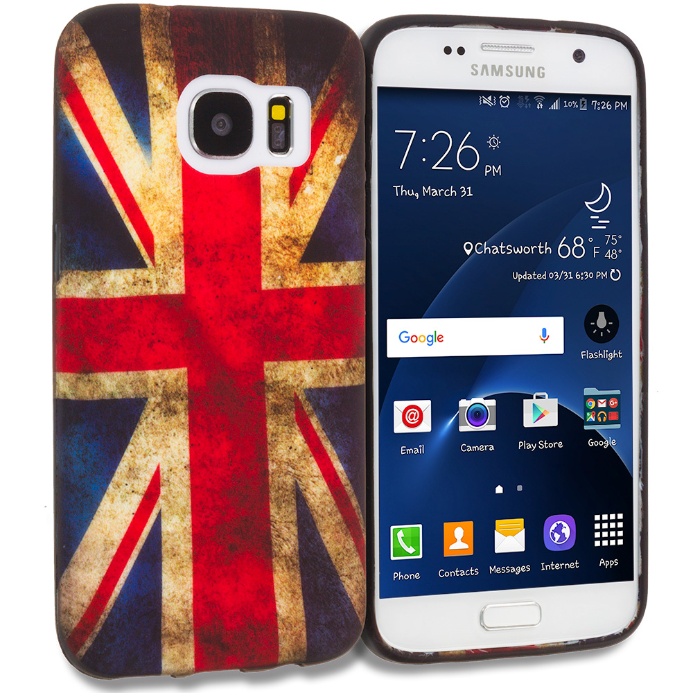 Samsung Galaxy S7 Combo Pack : Flaming Soccer Ball TPU Design Soft Rubber Case Cover : Color The Union Flag