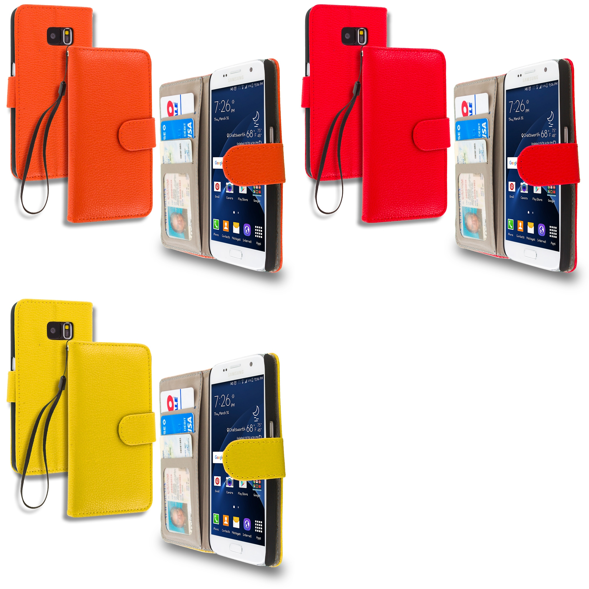 Samsung Galaxy S7 Combo Pack : Red Leather Wallet Pouch Case Cover with Slots
