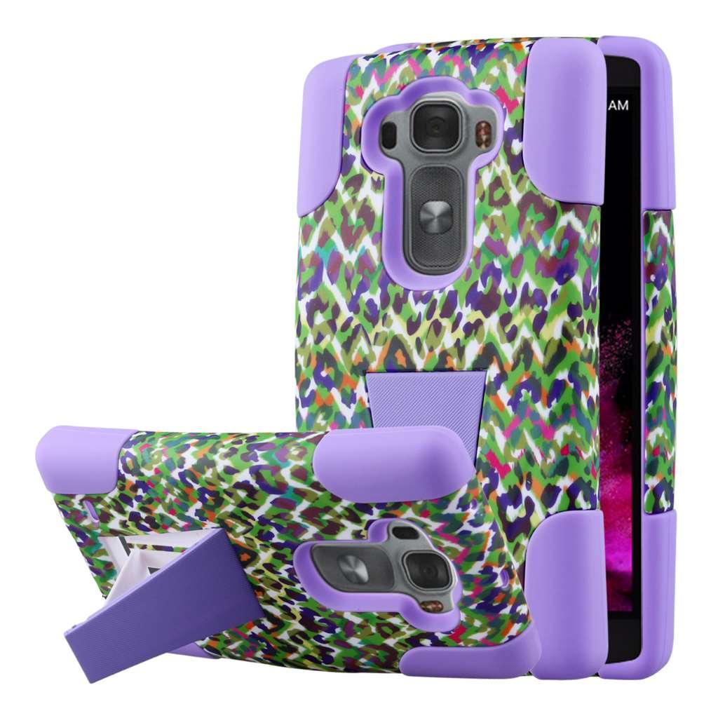 LG G Flex 2 - Purple Rainbow Leopard MPERO IMPACT X - Kickstand Case Cover