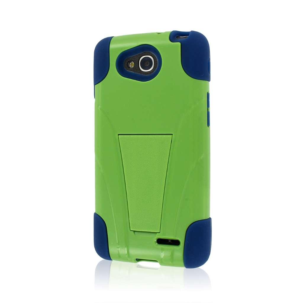 LG Optimus L90 - Blue / Green MPERO IMPACT X - Kickstand Case Cover