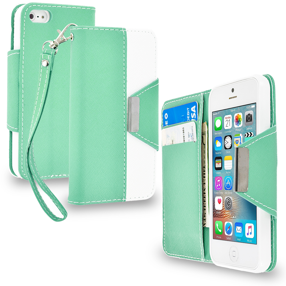 Apple iPhone 5/5S/SE Combo Pack : Baby Blue Wallet Magnetic Metal Flap Case Cover With Card Slots : Color Mint Green