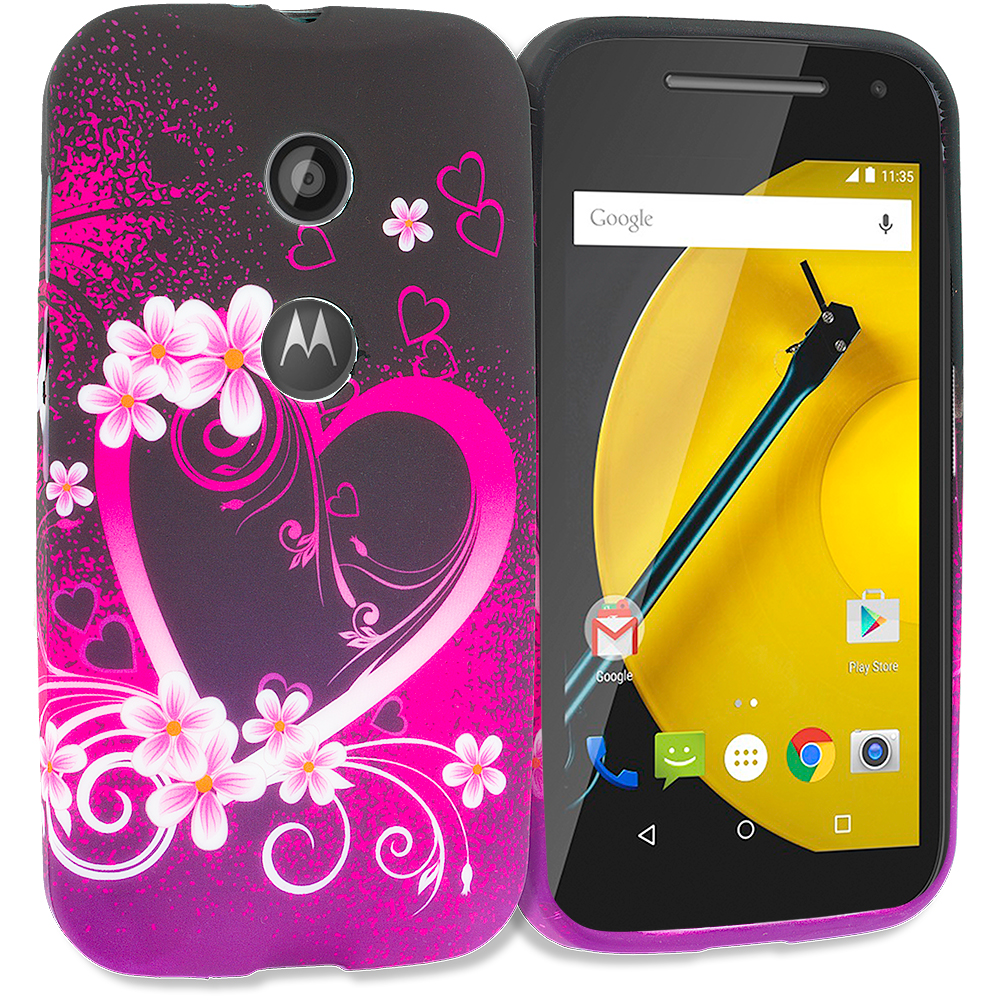 Motorola Moto E Purple Love TPU Design Soft Rubber Case Cover
