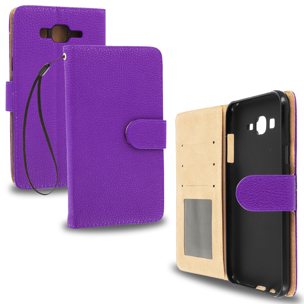 Samsung Galaxy J7 Purple Leather Wallet Pouch Case Cover with Slots