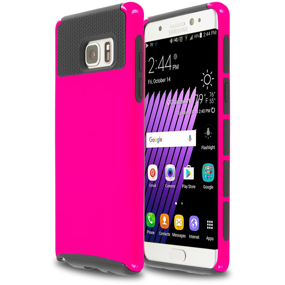 Samsung Galaxy Note 7 Hot Pink / Black Hybrid Hard TPU Honeycomb Rugged Case Cover