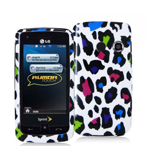 LG Rumor Touch LN510 Colorful Leopard on White Design Crystal Hard Case Cover