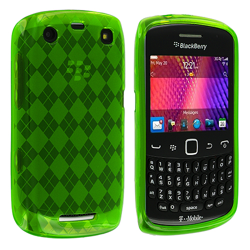 BlackBerry Curve 9350 9360 9370 Neon Green Checkered TPU Rubber Skin Case Cover