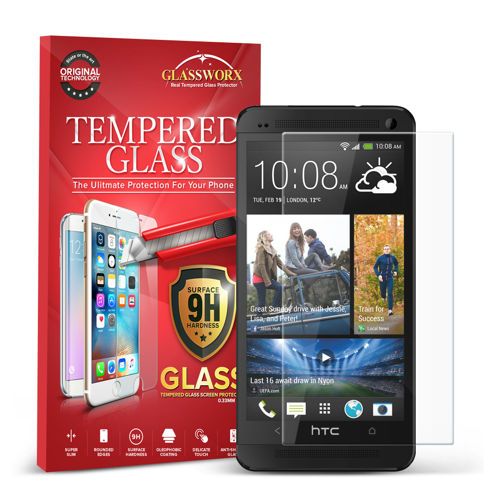 HTC One M7 GlassWorX HD Clear Tempered Glass Screen Protector