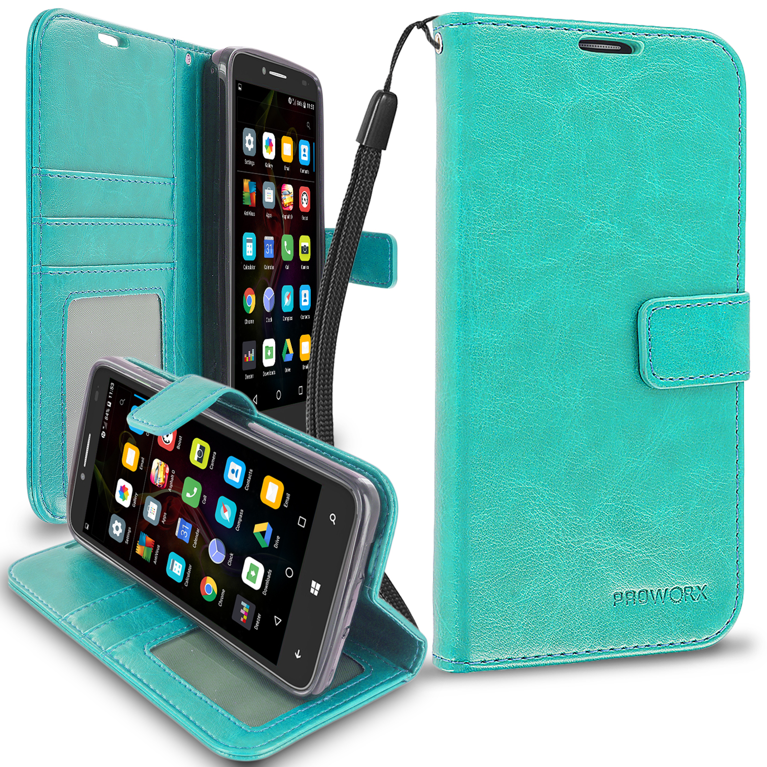 Alcatel OneTouch Fierce XL Mint Green ProWorx Wallet Case Luxury PU Leather Case Cover With Card Slots & Stand
