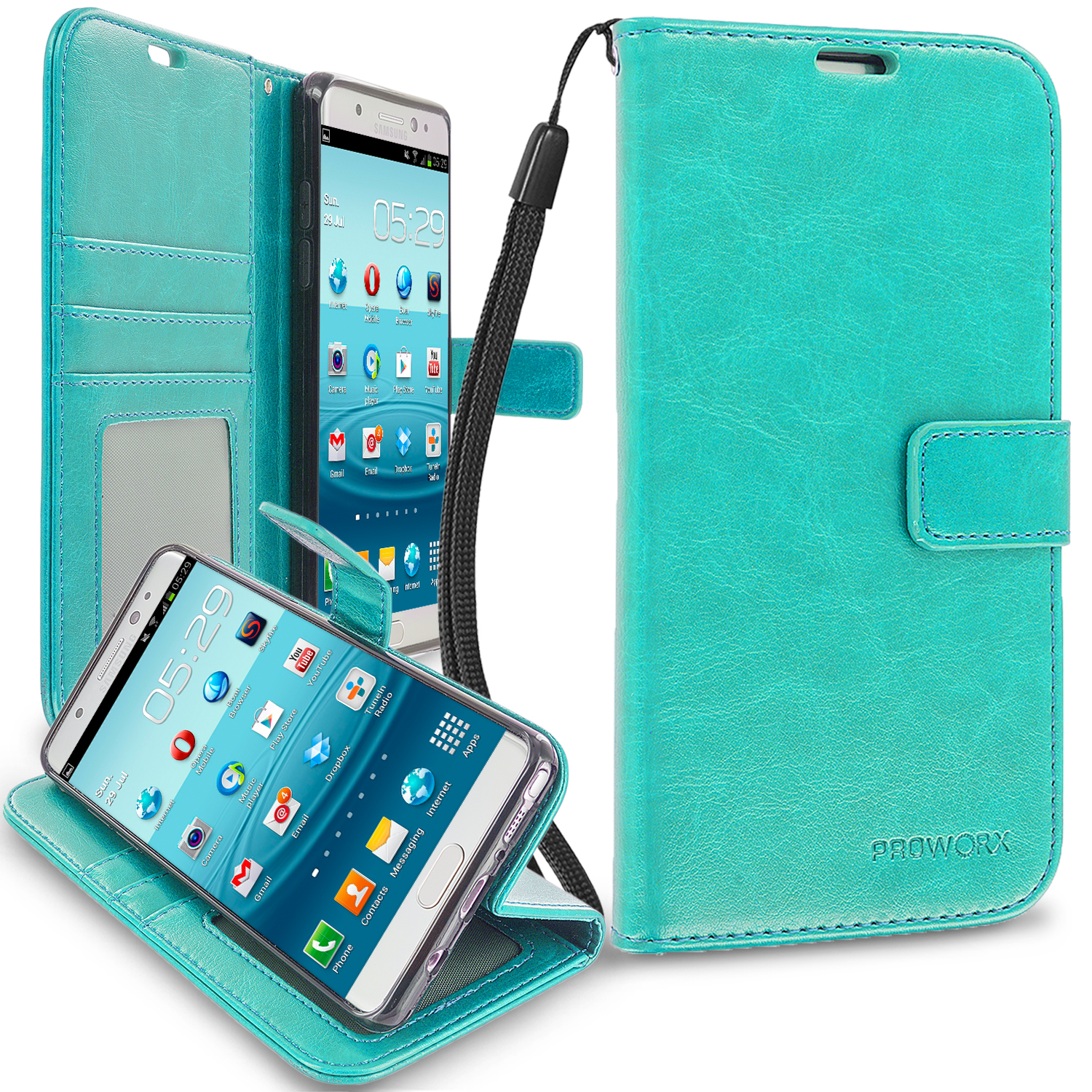 Samsung Galaxy Note 7 Mint Green ProWorx Wallet Case Luxury PU Leather Case Cover With Card Slots & Stand